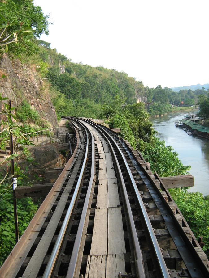 The road of death. The railway road in Thailand over tge Kwai river called road of death in Second world war royalty free stock photos