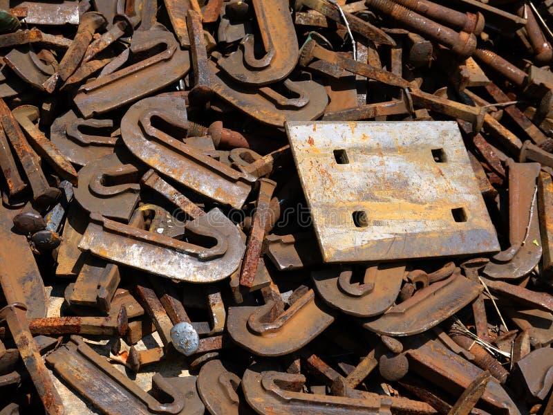 Railway: scrap steel ties and plate close stock photos