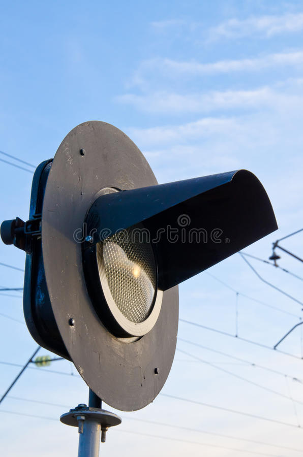 Railway semaphore. Against the blue sky sideways royalty free stock images