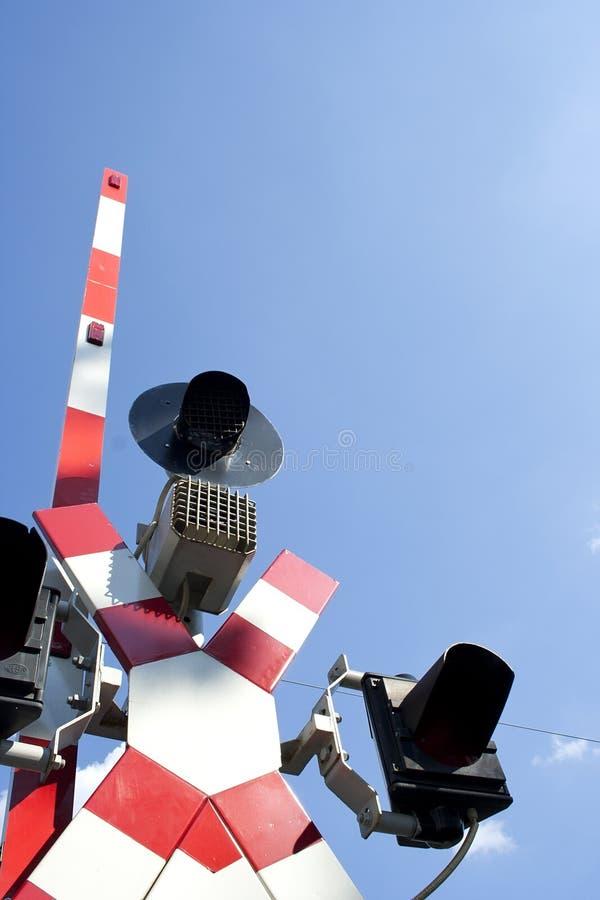 Railway semaphore on lifting gate stock photo
