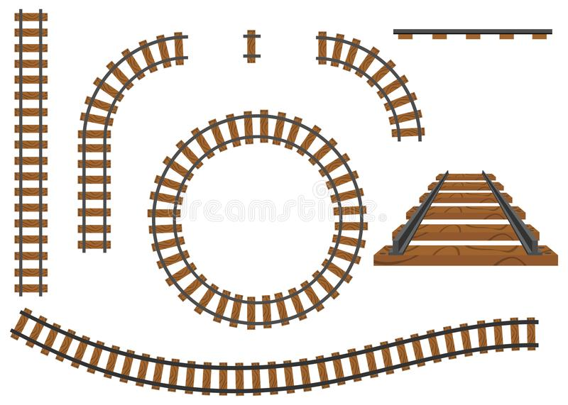 Railway, a set of railroad tracks. Rails and sleepers. royalty free illustration