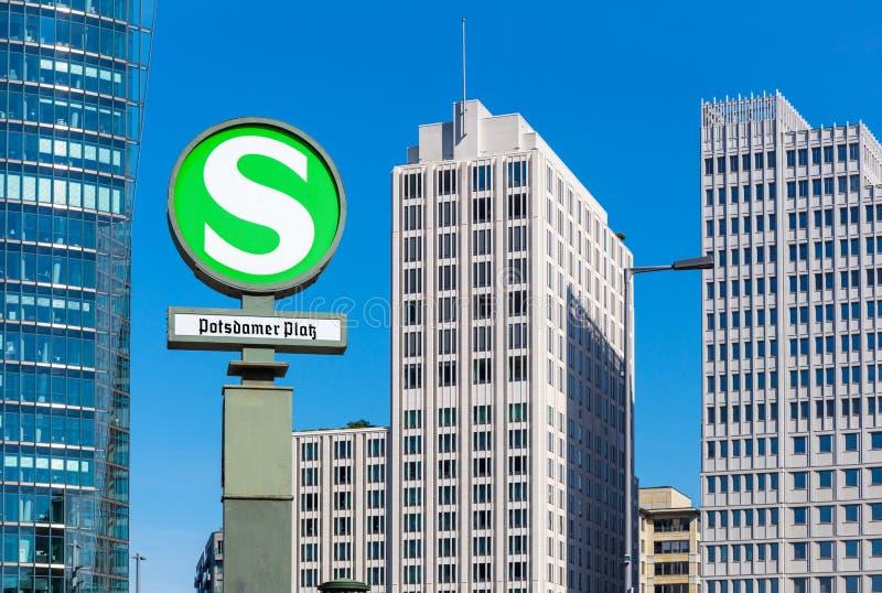 Railway sign at Potsdamer Platz, Berlin stock images