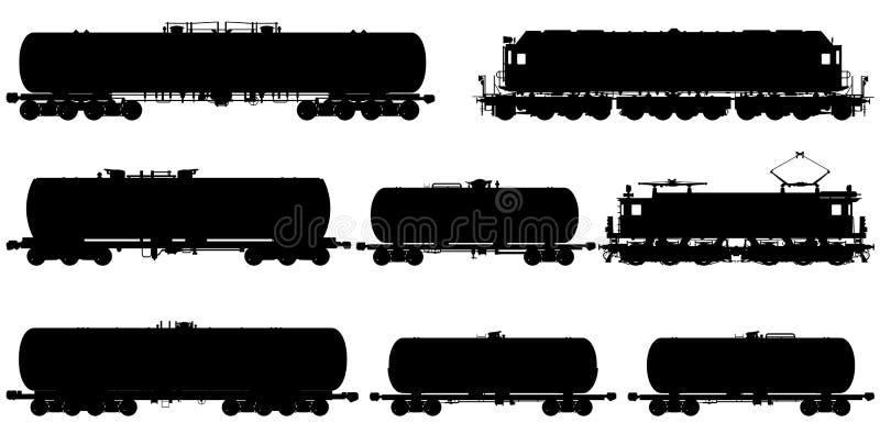 Railway silhouettes set stock images