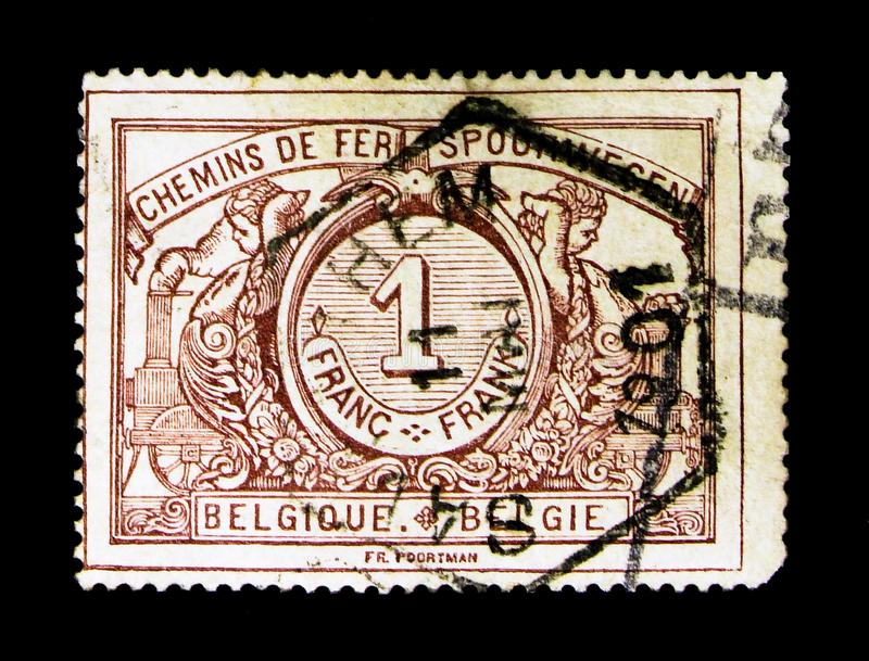 Railway Stamp: Numeral with bilingual text, serie, circa 1895. MOSCOW, RUSSIA - NOVEMBER 23, 2017: Rare stamp printed in Belgium shows Railway Stamp: Numeral stock photo