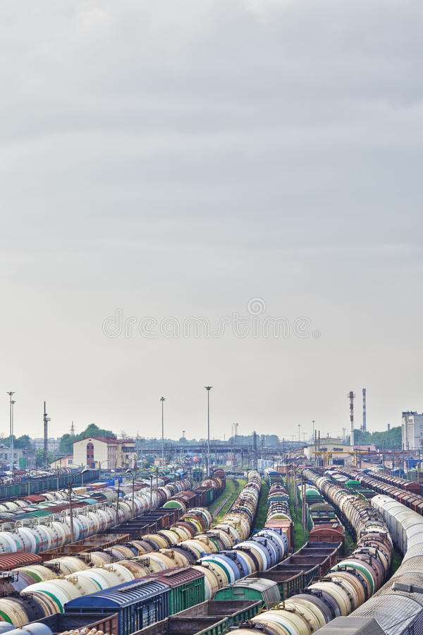 Railway Station. And lot of cargo trains stock image