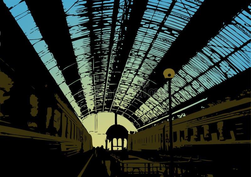 Railway station royalty free illustration