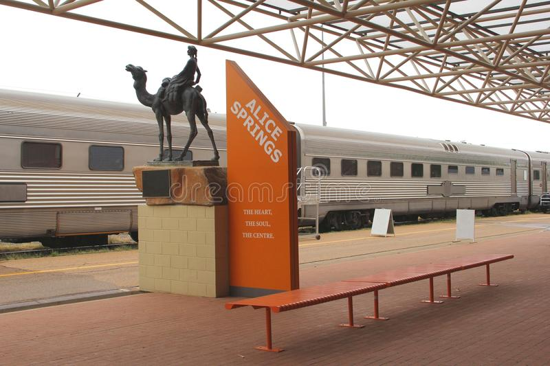 The Ghan Train Is Waiting At Railway Station Alice Springs, Australia Editorial Photo