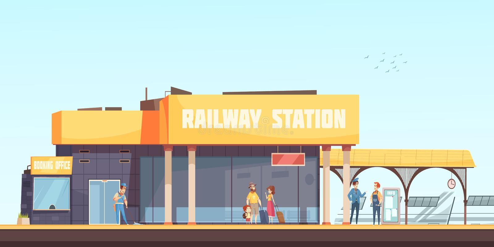 Railway Station Background. Booking office cleaner inspector and passengers waiting train on platform flat vector illustration royalty free illustration