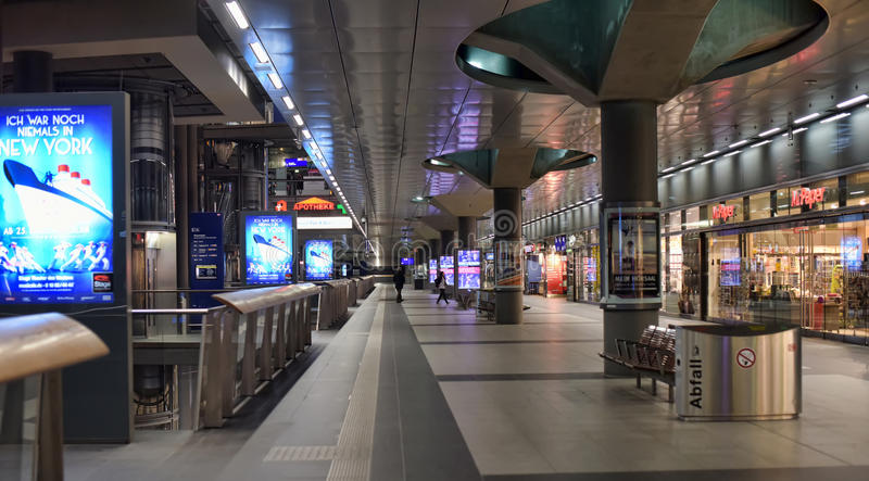 Railway station Berlin from inside. Inside the Berlin Hauptbahnhof (Main or Central station), Germany stock photography