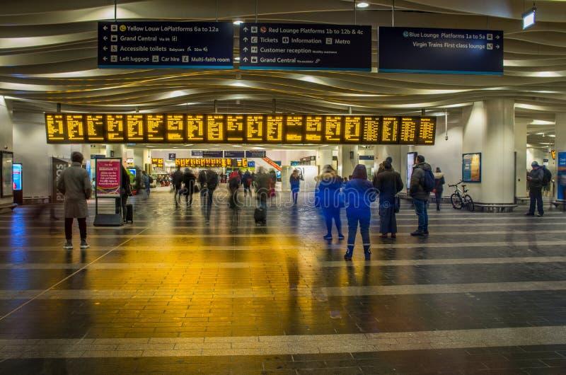 Railway station in Birmingham, United Kingdom. Birmingham, United Kingdom - March 02 2018 : Unidentified people inside railway station in Birmingham, United royalty free stock images