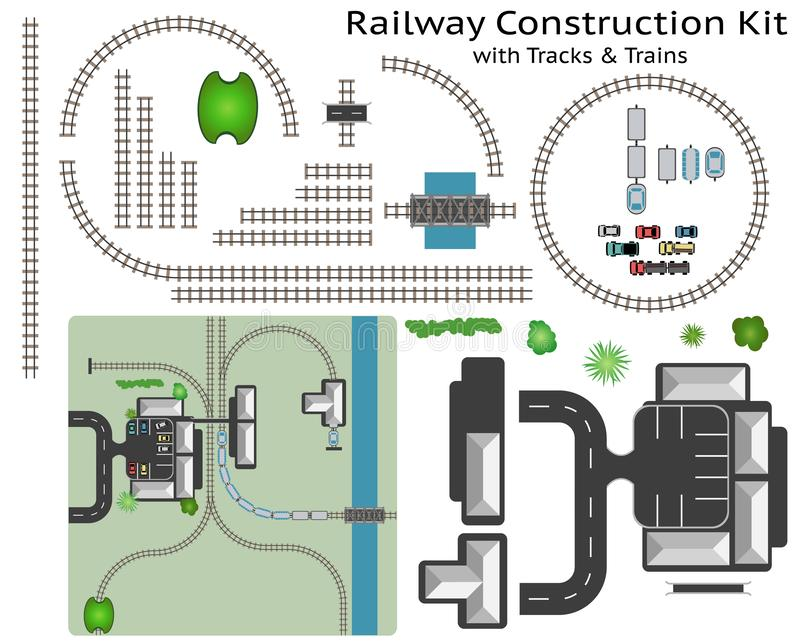 Railway and Station Building Construction Kit with Train. Build your own railway, grouped and layered, see my portfolio for other kits royalty free illustration