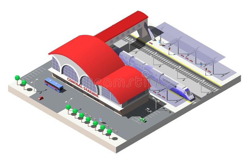 Railway station building, platforms and train. Vector isometric illustration.  royalty free illustration