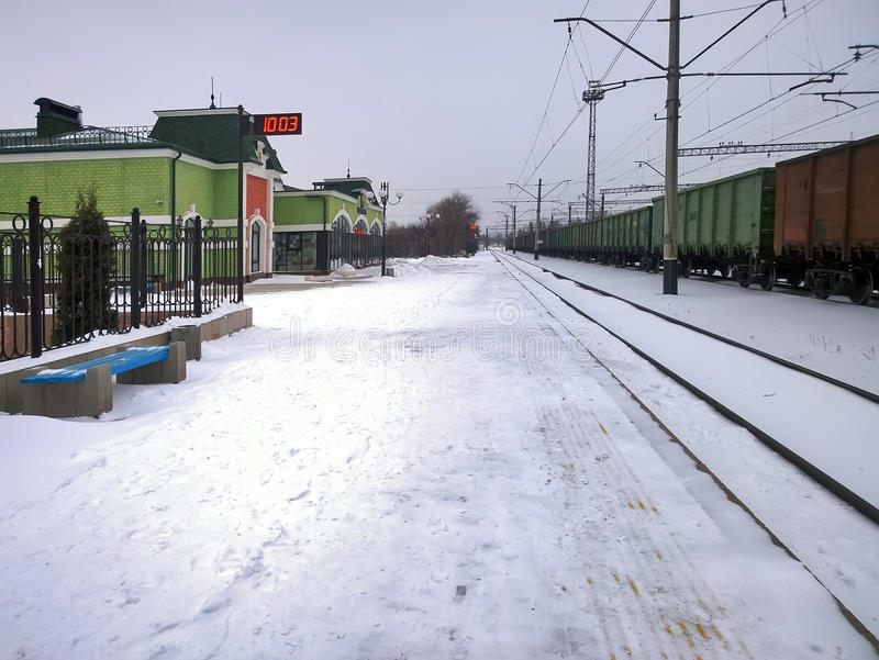 Railway station in the city of Krivoy Rog in Ukraine. General view Rokovata Train Station in the city of Krivoy Rog in the Ukraine in the winter royalty free stock image