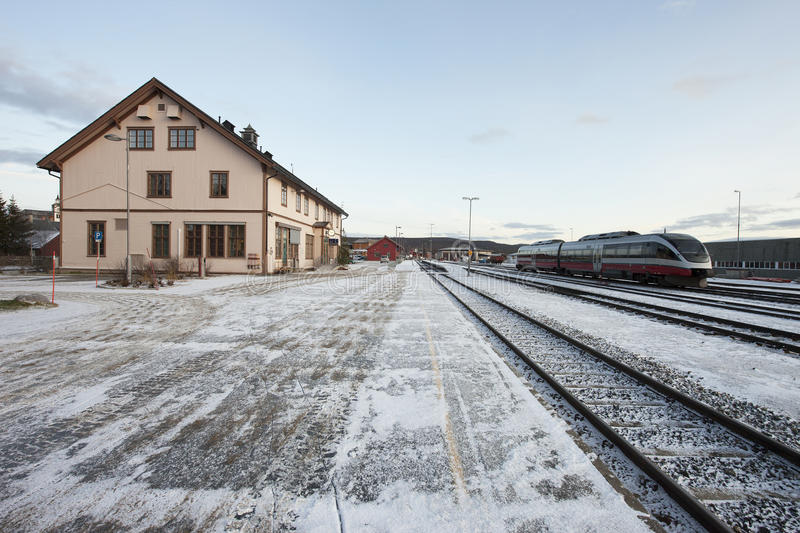 Railway station in the city of Roros. Norway royalty free stock images