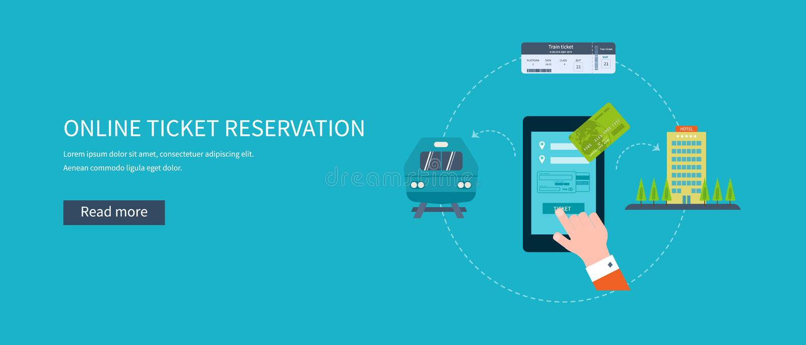 Railway station concept. Train on railway. Online ticket reservation. Flat icons vector illustration vector illustration