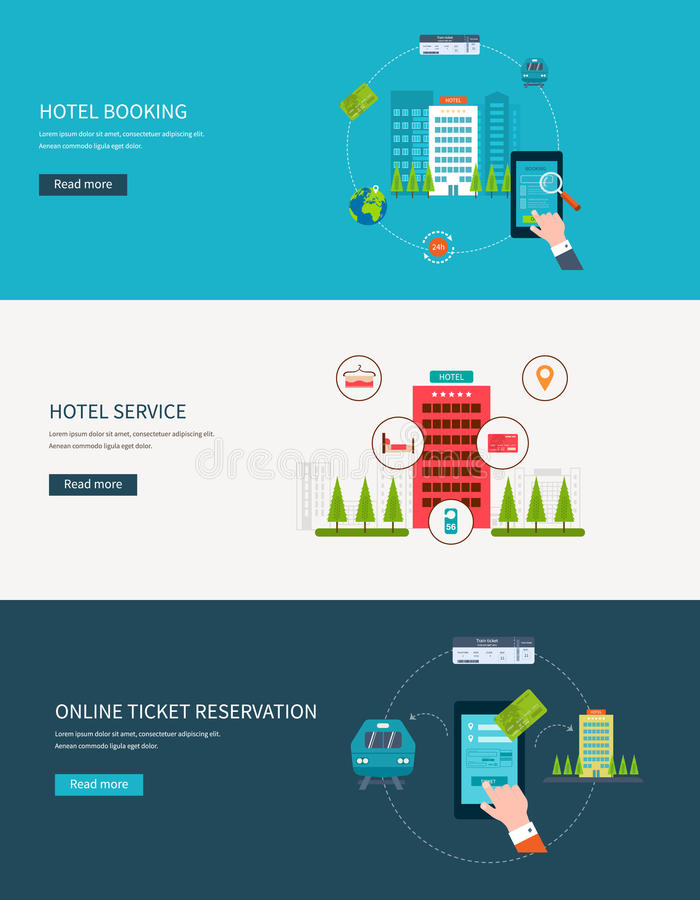 Railway station concept. Train on railway. Online. Ticket reservation. Hotel booking. Flat design modern vector illustration icons set of urban landscape and vector illustration