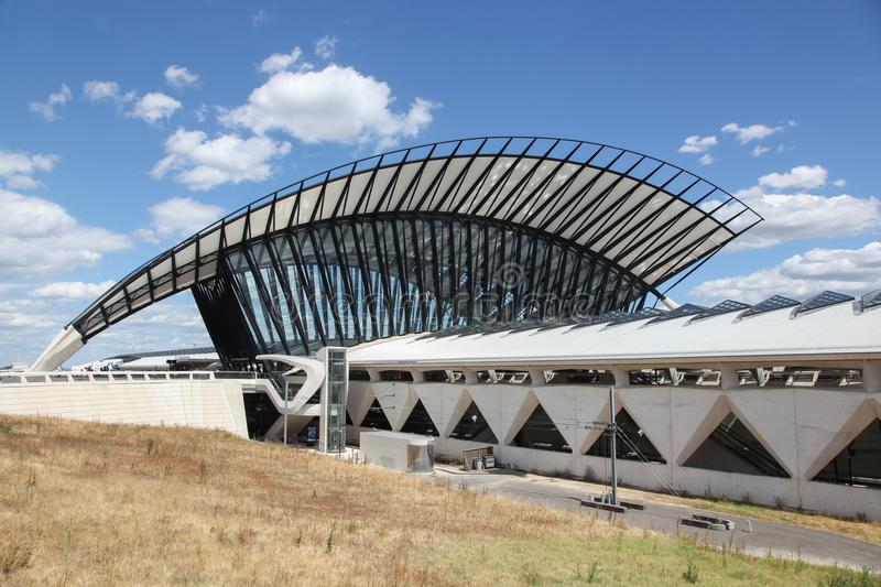 Railway station connected to Saint Exupery airport in Lyon. Lyon, France - July 27, 2015: Railway station connected to Saint Exupery airport in Lyon stock images