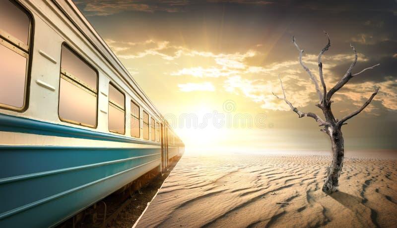 Railway station in desert stock photo