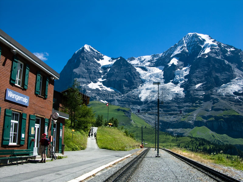 Railway station on Eiger royalty free stock photography