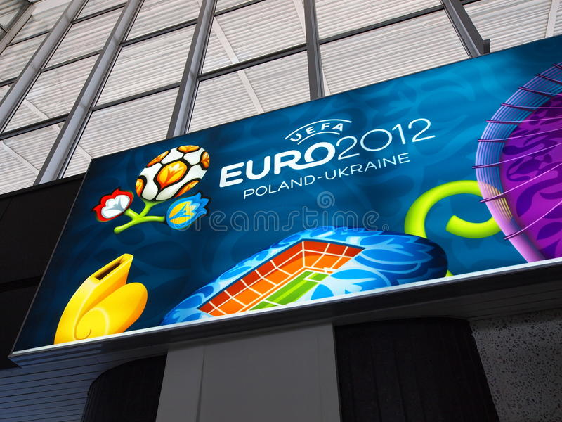 Download Railway Station And Euro 2012 Banner In Warsaw Editorial Image - Image: 25167715