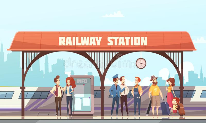 Railway Station Vector Illustration. Railway station flat vector illustration with passengers and travelers waiting train on railway platform stock illustration