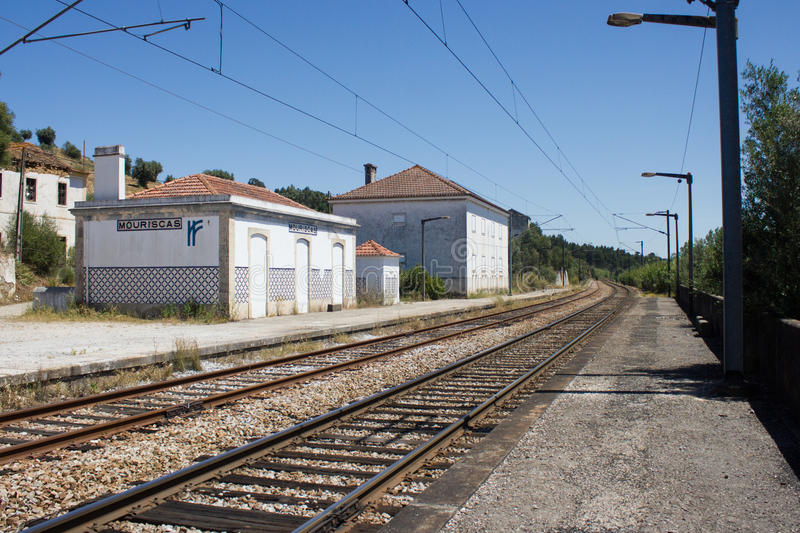 Railway station ghost in Mouriscas, Ribatejo, Santarém, Portugal. General view of a railway station ghost in Mouriscas, in Ribatejo province, Santarém stock image