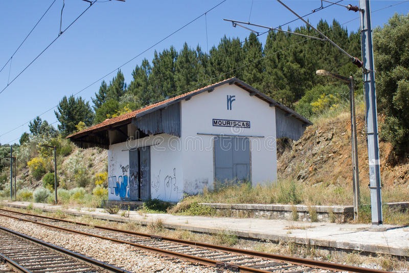 Railway station ghost in Mouriscas, Ribatejo, Santarém, Portugal. View of an old railway warehouse of goods in a railway station ghost in Mouriscas, in stock photo
