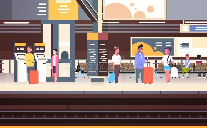 Railway Station Interior With People Passengers Waiting For Train Holding Bags Transport And Transportation Concept. Vector Illustration royalty free illustration