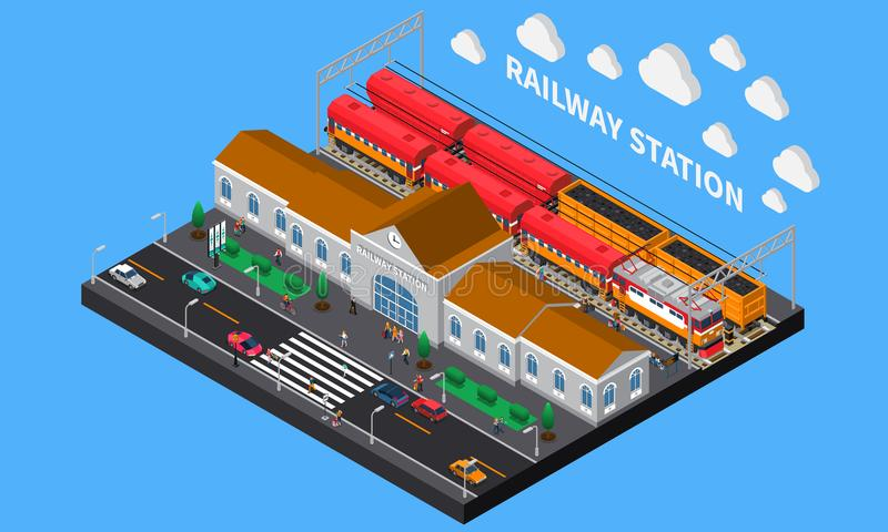 Railway Station Isometric Composition. With freight and passenger trains waiting for departure at platform vector illustration stock illustration