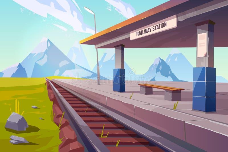 Railway station mountains empty railroad platform royalty free illustration