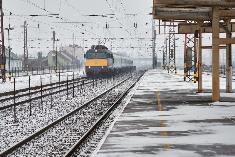 Railway station with passaenger train stock image
