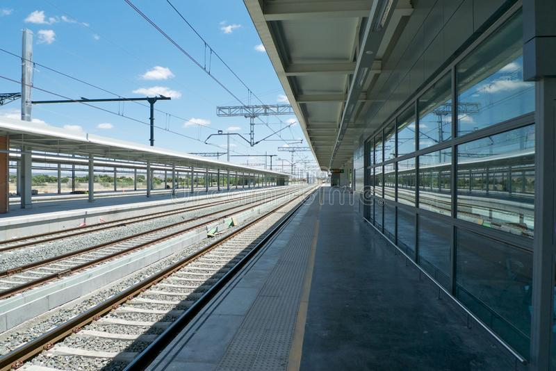 Railway station platform royalty free stock photo