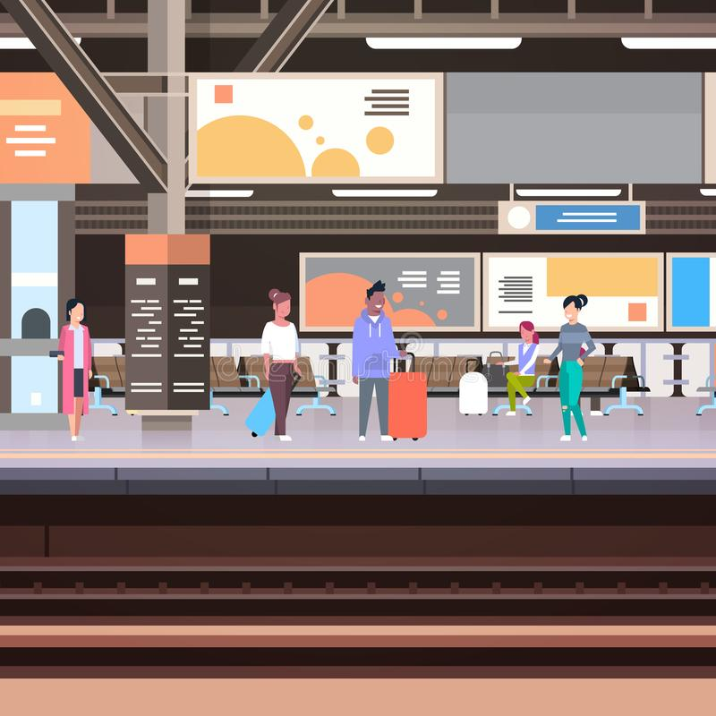 Railway Station Platform With Passengers Waiting For Train Departure Transportation Concept. Vector Illustration stock illustration