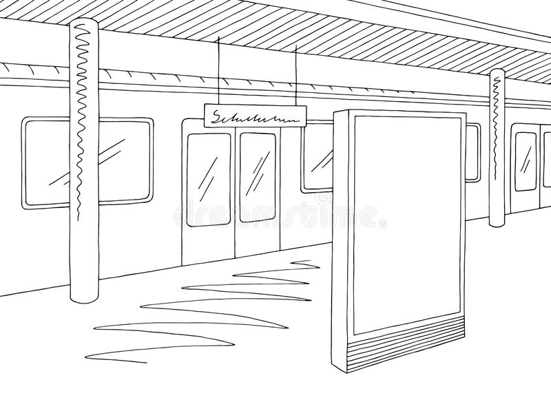 Railway station platform train billboard graphic black white sketch illustration vector. Railway station platform train billboard graphic black white sketch stock illustration