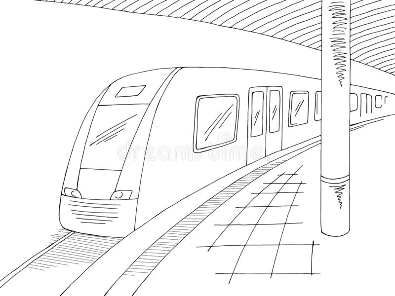 Railway station platform train graphic black white sketch illustration vector. Railway station platform train graphic black white sketch vector vector illustration