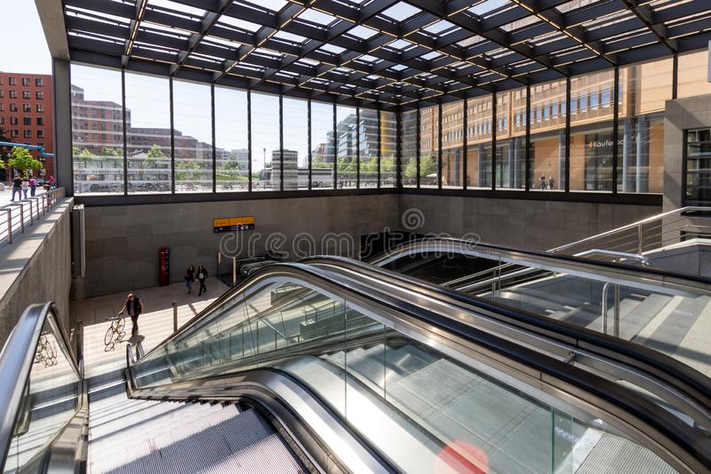 Railway station in Potsdamer Platz Berlin. BERLIN - APR 28, 2018: Entrance to the railway station in Potsdamer Platz. One of the main public square and traffic stock photo