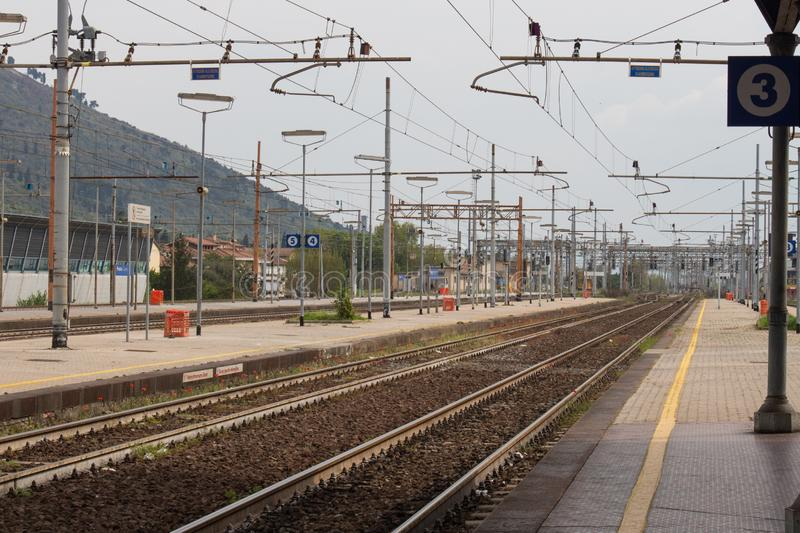 Railway station in Prato Central Station, Tuscany, Italy royalty free stock photos