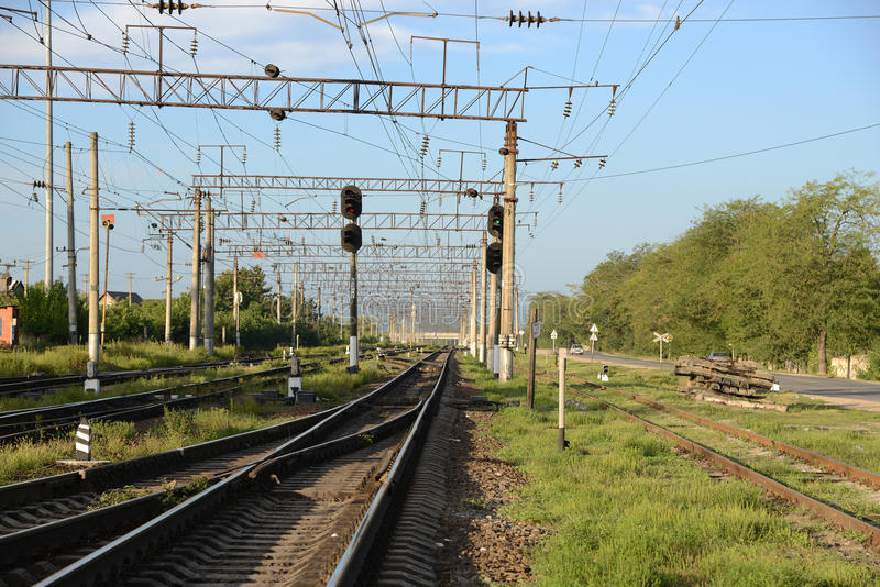 Download A railway station. stock image. Image of semaphore, network - 33451065