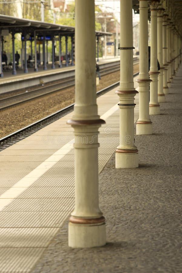Railway station retro platform Sopot stock images