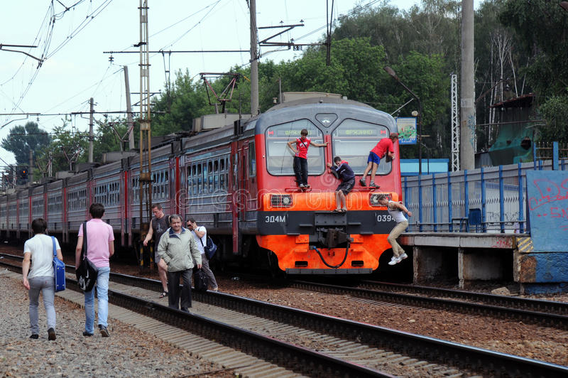Download At the Railway Station editorial stock image. Image of russian - 32091694