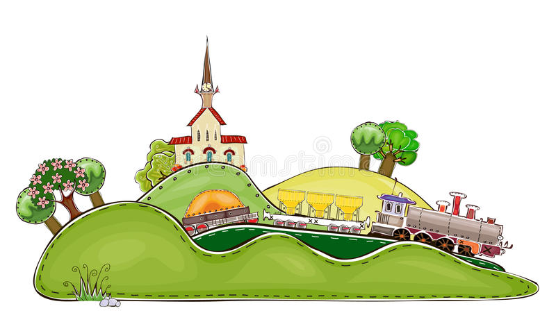 Railway station and train illustration. Railway station and train Happy world collection stock illustration