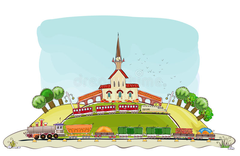 Railway station and train illustration. Railway station and train Happy world collection vector illustration