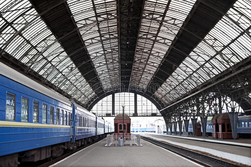 Railway station with trains stock images