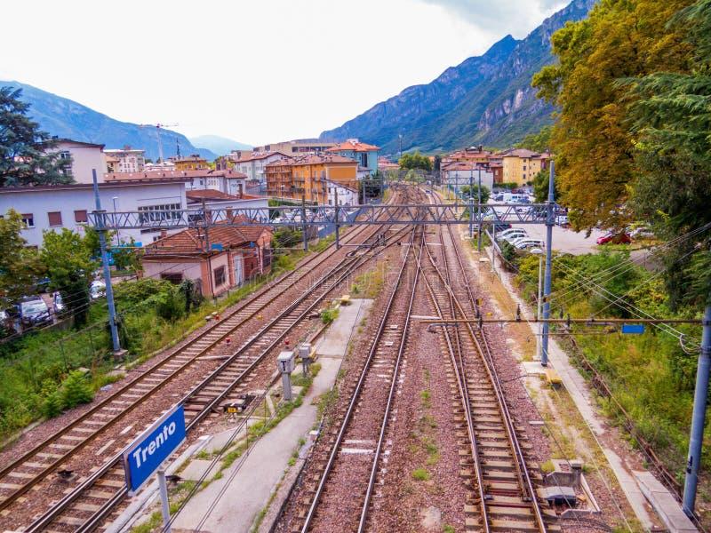 Railway station in Trento, Italy stock photography