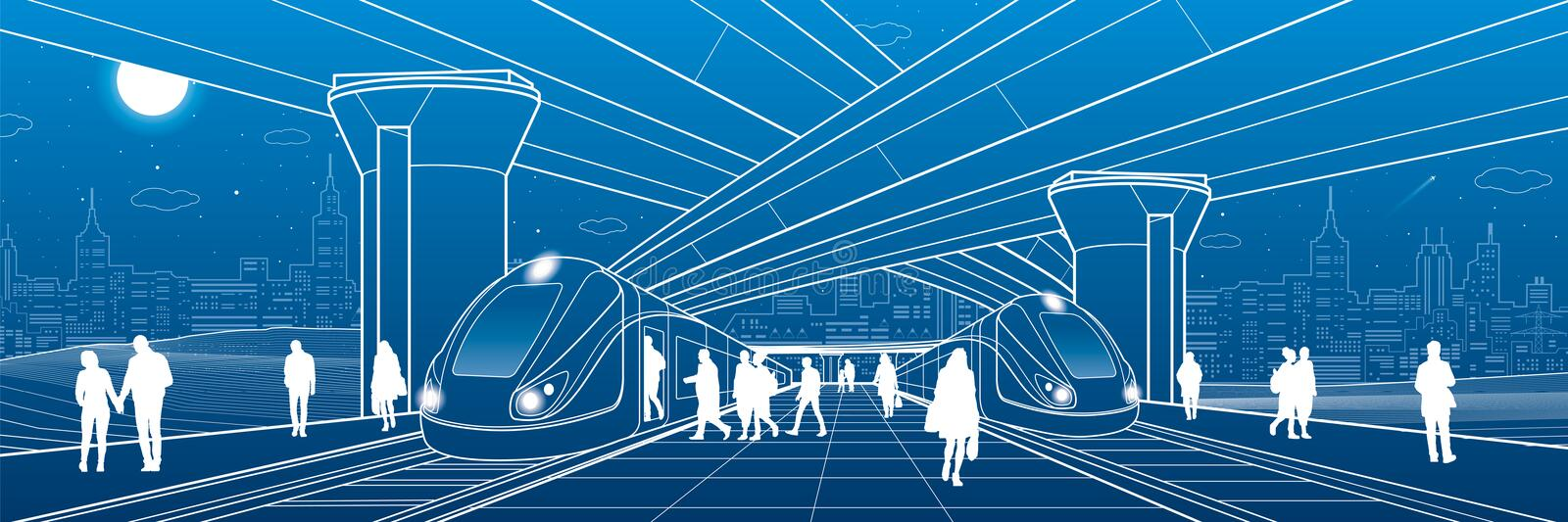 Railway station under the overpass. Passengers board the train. Urban life scene. City Transport infrastructure. Vector design out. Line illustration stock illustration