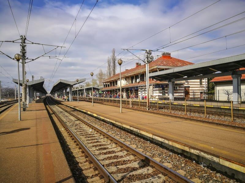 Railway station in Ploiesti City, Romania stock images