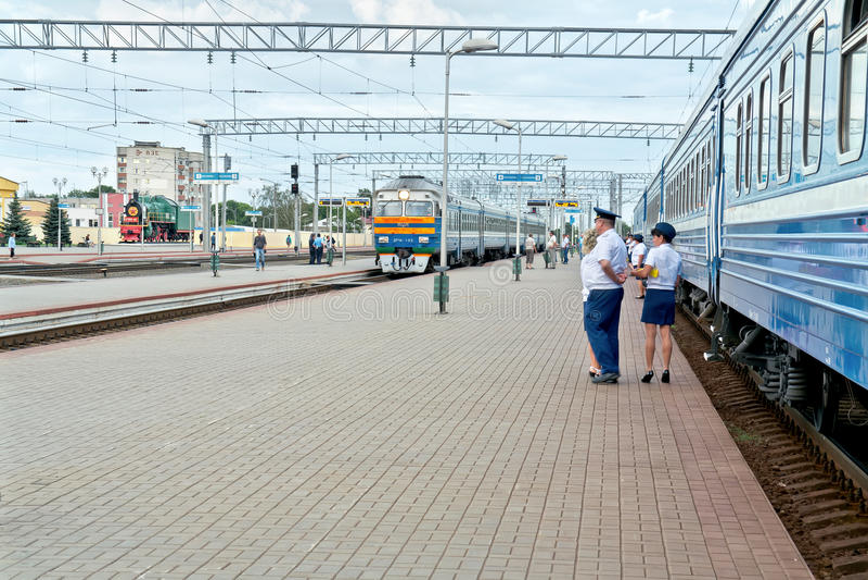 Railway station Zhlobin. ZHLOBIN, REPUBLIC BELARUS - June 19.2016: Large regional station. Stop of train royalty free stock photography