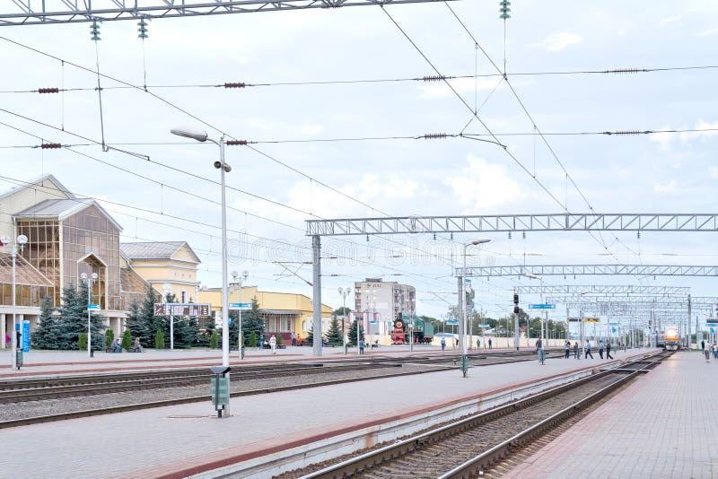Railway station Zhlobin. ZHLOBIN, REPUBLIC BELARUS - June 19.2016: Large regional station. Stop of train stock photo