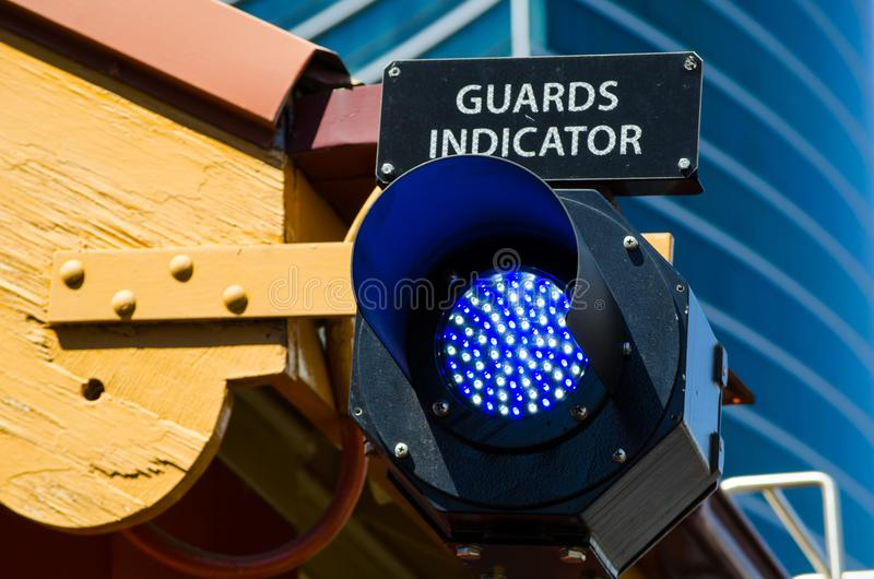 Railway stations light guards indicator. Railway stations light guards indicator signals are divided into two types: controlled also known as absolute and royalty free stock photos