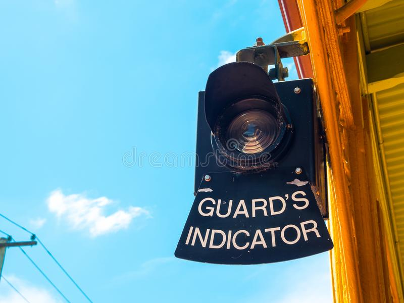 Railway stations light guards indicator. A Railway stations light guards indicator used mainly in the area where suburban and inter-urban passenger trains royalty free stock photos